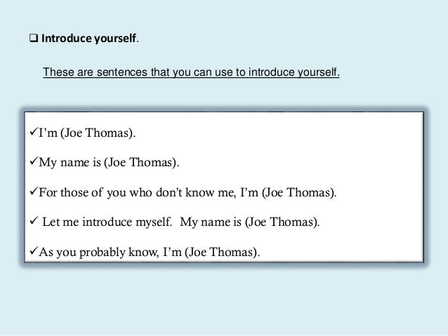 how to introduce yourself in a presentation as a student