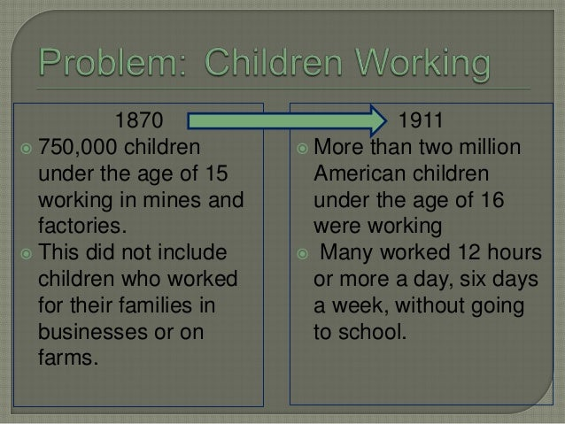 1870  750,000 children under the age of 15 working in mines and factories.  This did not include children who worked for...