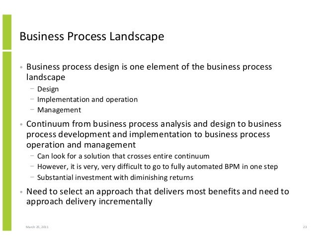 March 25, 2011 23 Business Process Landscape • Business process design is one element of the business process landscape − ...