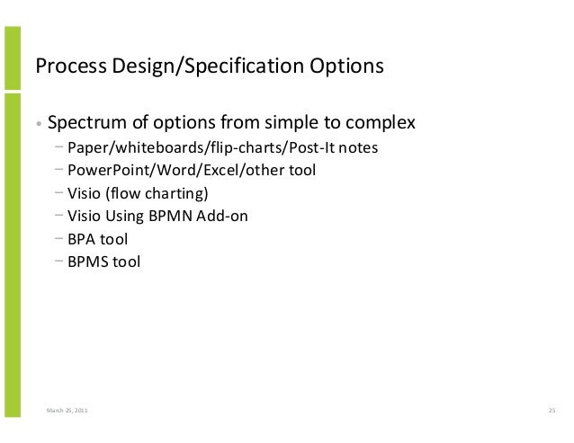 March 25, 2011 25 Process Design/Specification Options • Spectrum of options from simple to complex − Paper/whiteboards/fl...