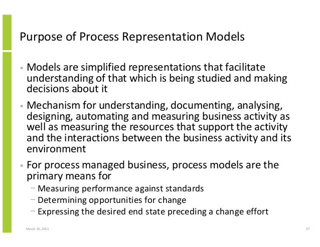 March 25, 2011 37 Purpose of Process Representation Models • Models are simplified representations that facilitate underst...