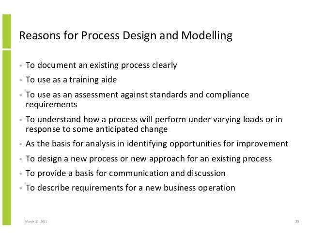 March 25, 2011 38 Reasons for Process Design and Modelling • To document an existing process clearly • To use as a trainin...