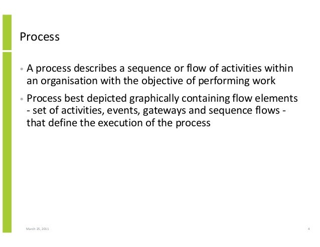 March 25, 2011 4 Process • A process describes a sequence or flow of activities within an organisation with the objective ...