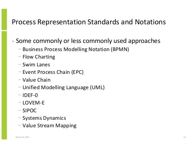 March 25, 2011 41 Process Representation Standards and Notations • Some commonly or less commonly used approaches − Busine...