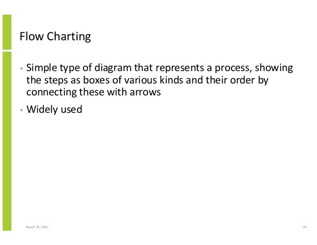 March 25, 2011 43 Flow Charting • Simple type of diagram that represents a process, showing the steps as boxes of various ...