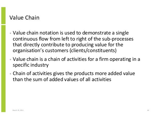 March 25, 2011 46 Value Chain • Value chain notation is used to demonstrate a single continuous flow from left to right of...