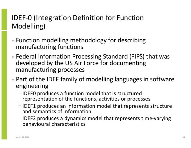 March 25, 2011 48 IDEF-0 (Integration Definition for Function Modelling) • Function modelling methodology for describing m...