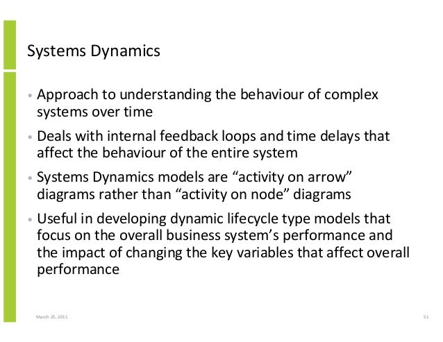 March 25, 2011 51 Systems Dynamics • Approach to understanding the behaviour of complex systems over time • Deals with int...
