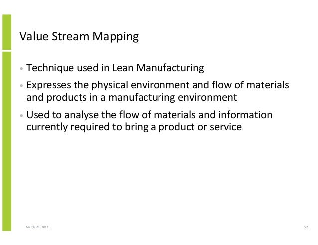 March 25, 2011 52 Value Stream Mapping • Technique used in Lean Manufacturing • Expresses the physical environment and flo...