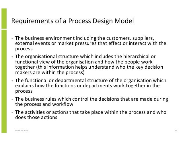 March 25, 2011 54 Requirements of a Process Design Model • The business environment including the customers, suppliers, ex...