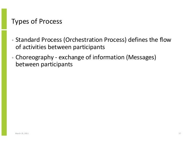 March 25, 2011 57 Types of Process • Standard Process (Orchestration Process) defines the flow of activities between parti...