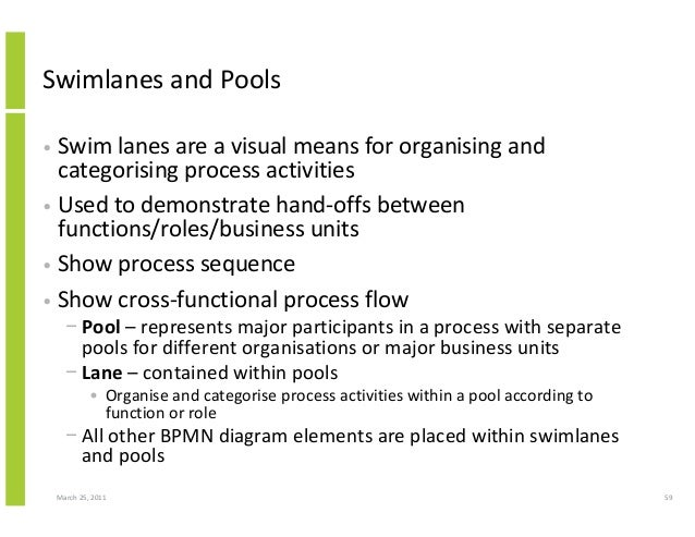 March 25, 2011 59 Swimlanes and Pools • Swim lanes are a visual means for organising and categorising process activities •...