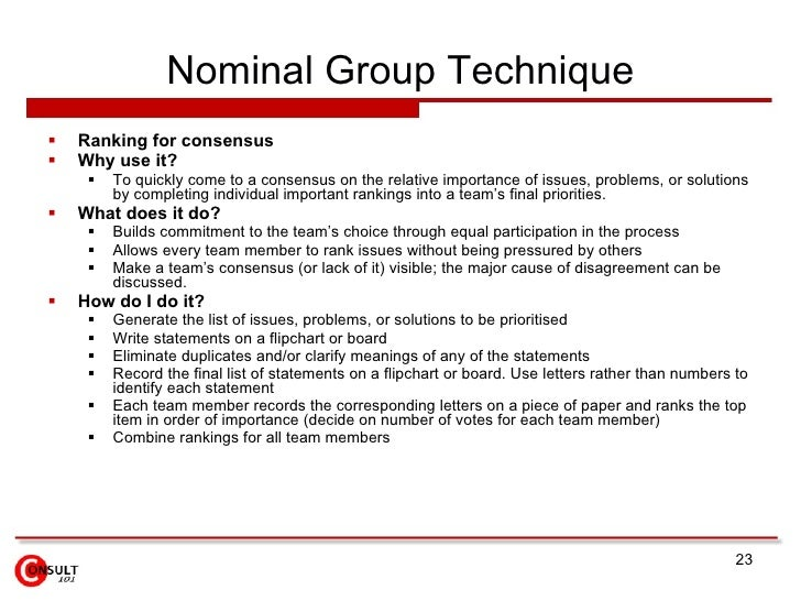 Her nominal group technique process that