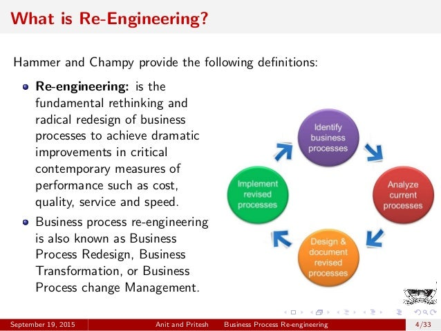 business process engineering Business process re-engineering (bpr) is a business management strategy, originally pioneered in the early 1990s, focusing on the analysis and design of workflows and business processes within an organization.