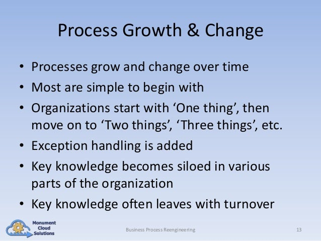 Process Growth & Change • Processes grow and change over time • Most are simple to begin with • Organizations start with '...