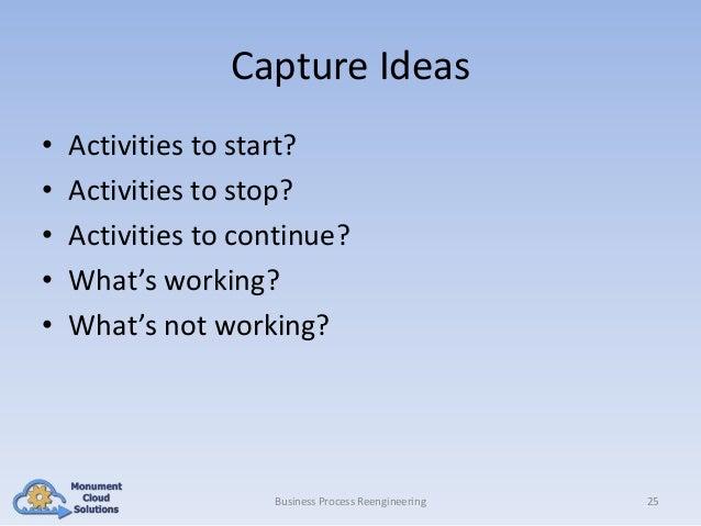 Capture Ideas • • • • •  Activities to start? Activities to stop? Activities to continue? What's working? What's not worki...