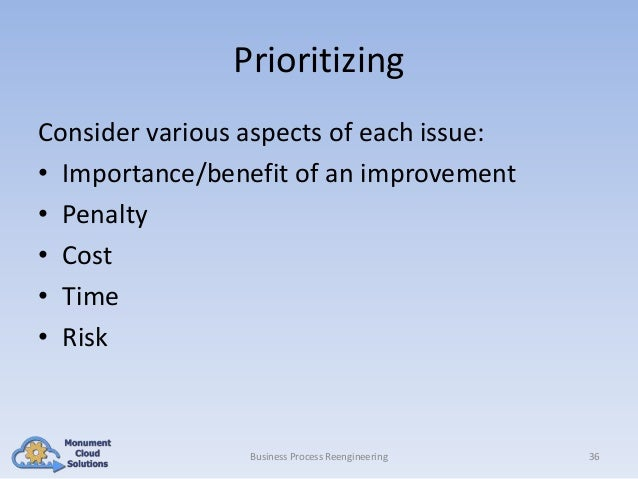 Prioritizing Consider various aspects of each issue: • Importance/benefit of an improvement • Penalty • Cost • Time • Risk...