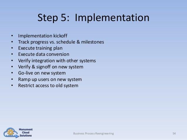 Step 5: Implementation • • • • • • • • •  Implementation kickoff Track progress vs. schedule & milestones Execute training...