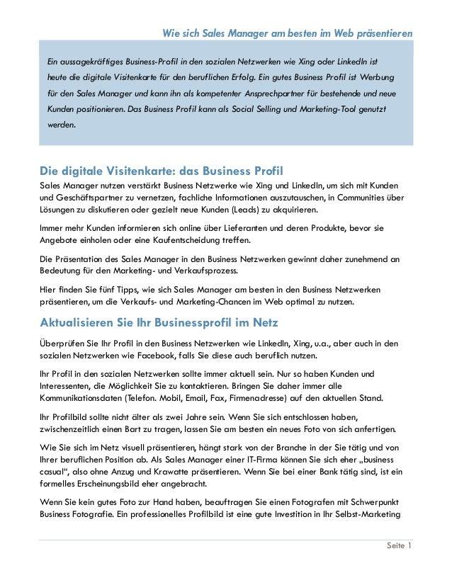 Business Profil Sales Manager Im Web