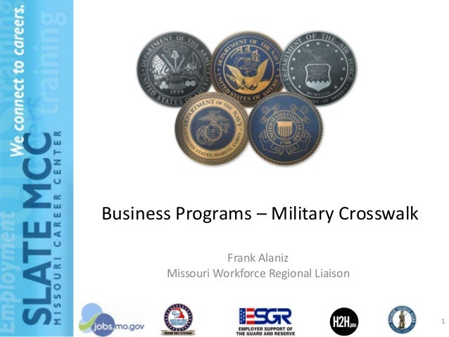 Business Programs – Military Crosswalk                  Frank Alaniz       Missouri Workforce Regional Liaison            ...
