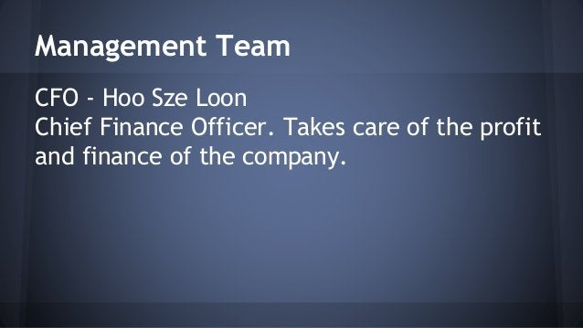 Management Team  CFO - Hoo Sze Loon  Chief Finance Officer. Takes care of the profit  and finance of the company.