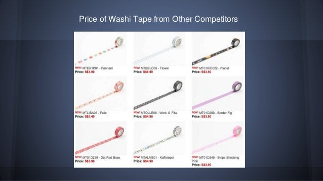 Price of Washi Tape from Other Competitors