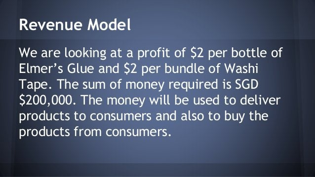 Revenue Model  We are looking at a profit of $2 per bottle of  Elmer's Glue and $2 per bundle of Washi  Tape. The sum of m...