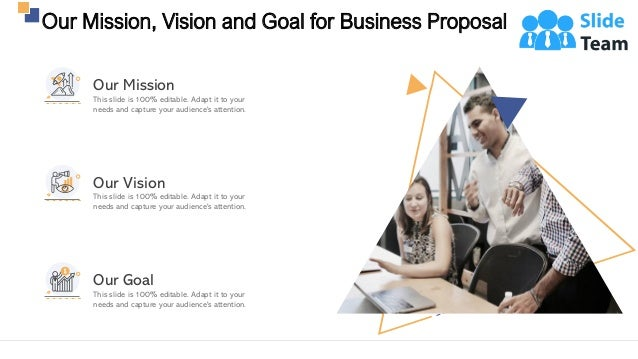 Our Mission, Vision and Goal for Business Proposal 25 This slide is 100% editable. Adapt it to your needs and capture your...
