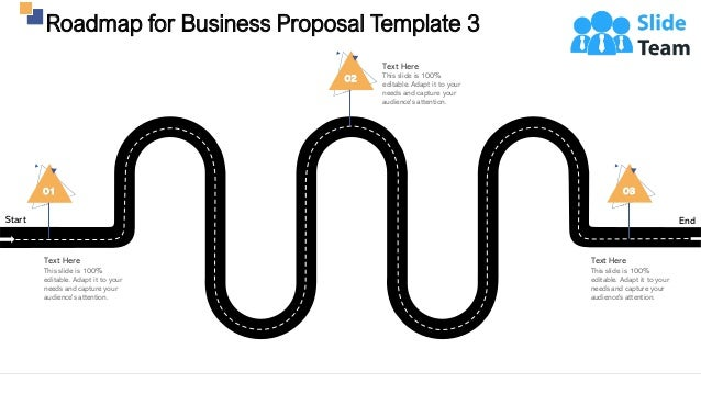 Roadmap for Business Proposal Template 3 28 Start End 01 Text Here This slide is 100% editable. Adapt it to your needs and...