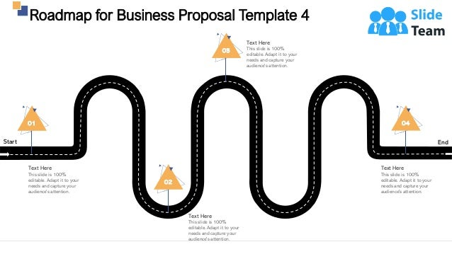 Start End Roadmap for Business Proposal Template 4 29 01 Text Here This slide is 100% editable. Adapt it to your needs and...