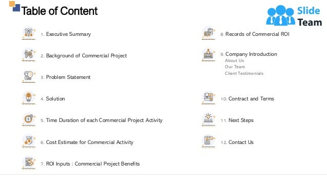 Table of Content 3 4. Solution 5. Time Duration of each Commercial Project Activity 6. Cost Estimate for Commercial Activi...
