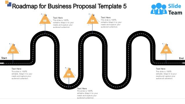 Start End Roadmap for Business Proposal Template 5 30 01 Text Here This slide is 100% editable. Adapt it to your needs and...