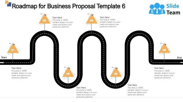 Start End Roadmap for Business Proposal Template 6 31 01 Text Here This slide is 100% editable. Adapt it to your needs and...