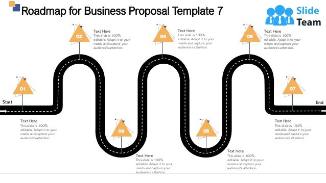 Roadmap for Business Proposal Template 7 32 Start End 02 Text Here This slide is 100% editable. Adapt it to your needs and...