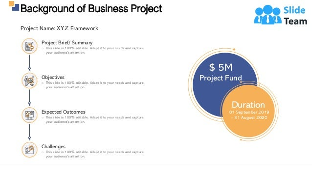 Background of Business Project 5 $ 5M Project Fund Duration 01 September 2019 - 31 August 2020 Project Name: XYZ Framework...