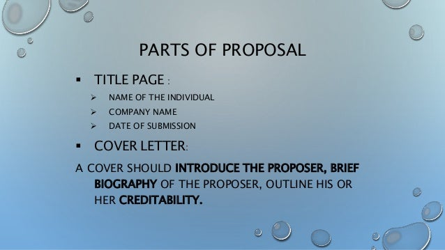 Main parts of business proposal