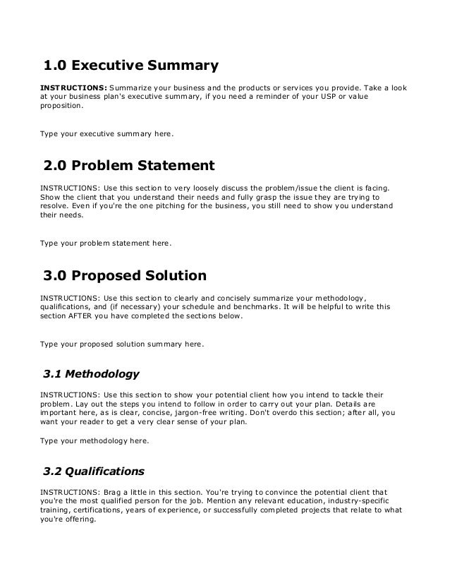 Business Proposal Template Free Download On Bplans Com