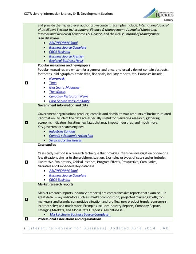 literature review checklist