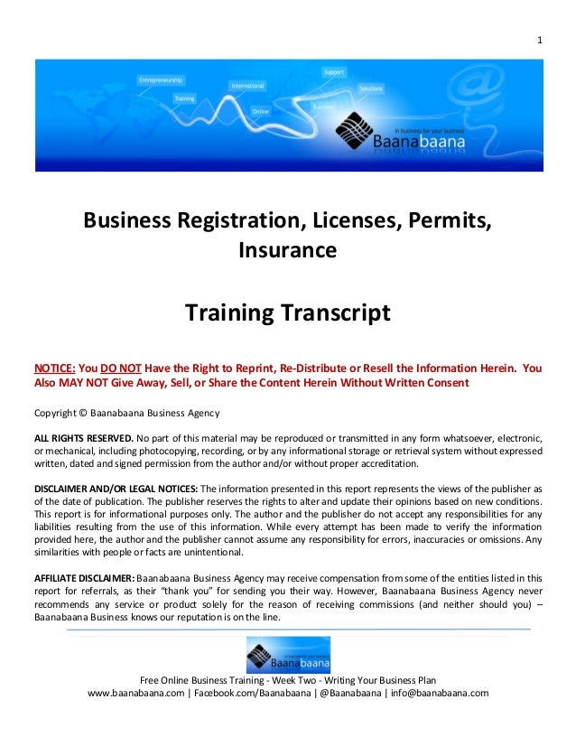 1           Business Registration, Licenses, Permits,                          Insurance                                  ...