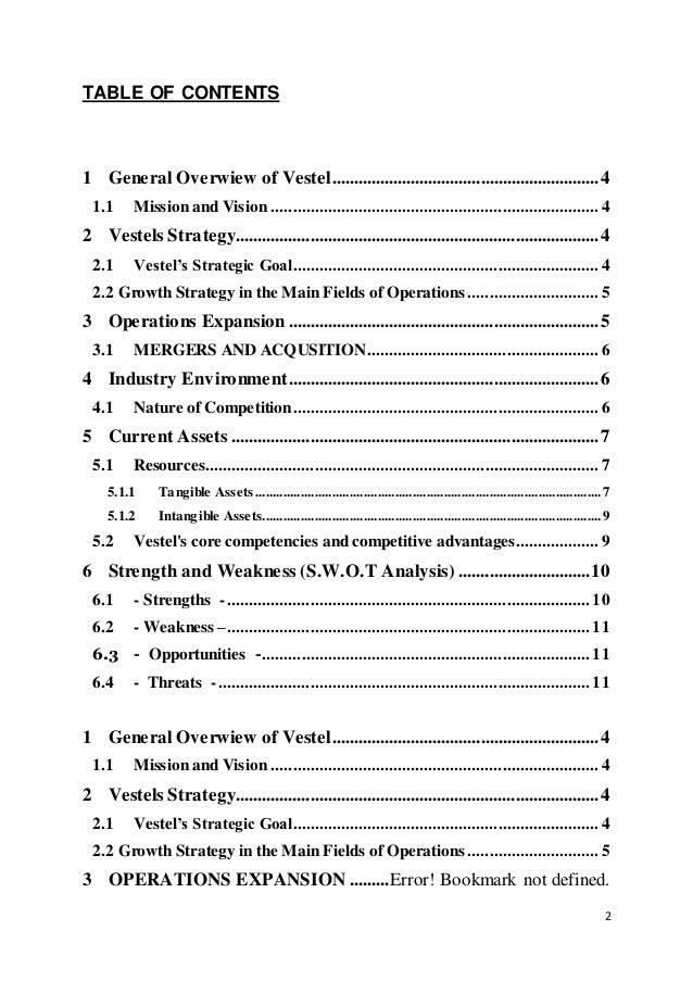 Perfect Strategic Business Analysis Report Of Vestel Elektronik Sanayi Ve Ticaret  A.Ş