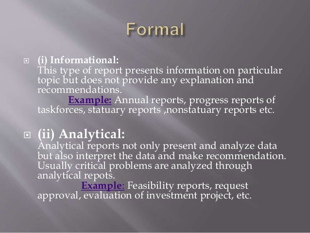 types of reports in business communication pdf