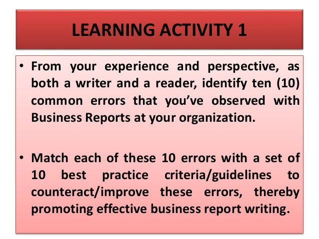 Best practice in business report writing
