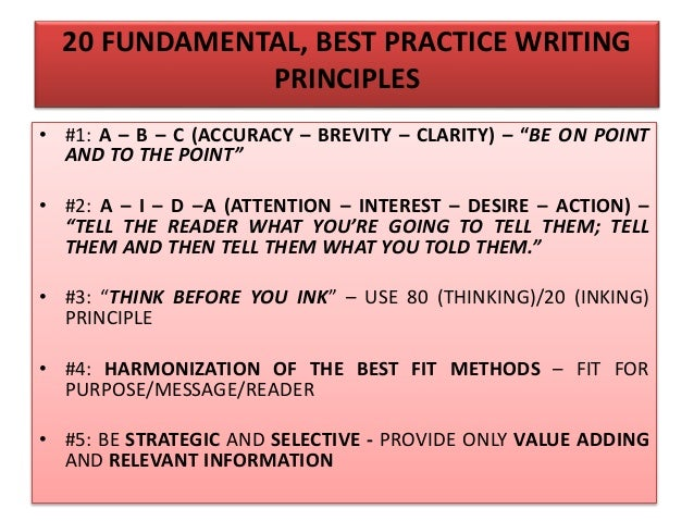 """20 FUNDAMENTAL, BEST PRACTICE WRITING PRINCIPLES • #6: """"LESS IS MORE"""" – HAVE AN EFFICIENT AND ECONOMICAL WRITING STYLE • #..."""