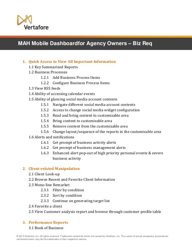 MAH Mobile Dashboardfor Agency Owners – Biz Req 1. Quick Access to View All Important Information 1.1 Key Summarized Repor...
