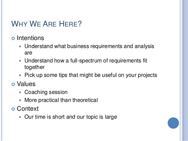 Business Requirements Gathering And Analysis - Business requirements analysis