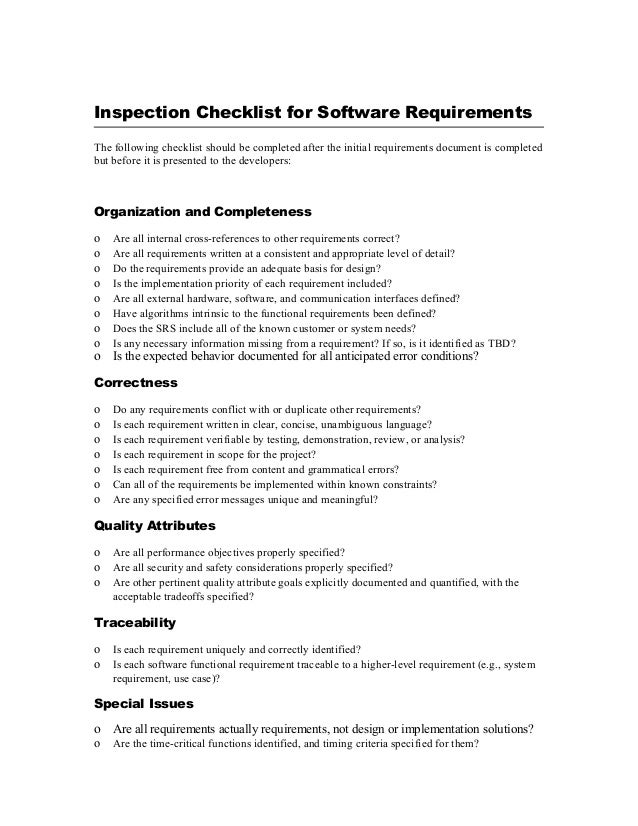 Business requirements template project manager 12 inspection checklist for software requirements friedricerecipe Images