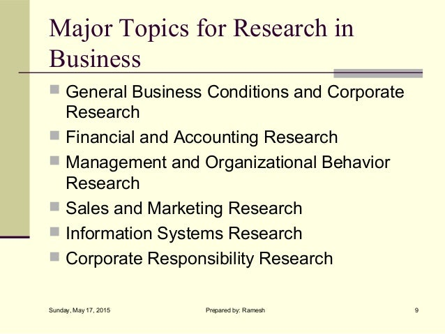 business research methods introduction  9 major topics for research in business