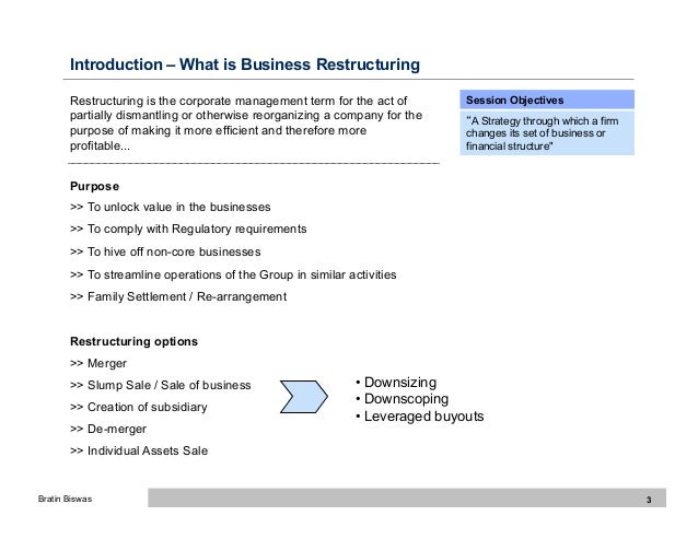 corporate restructuring strategies business essay Restructuring is more likely to be successful when managers first understand the  fundamental business/strategic problem or opportunity that.