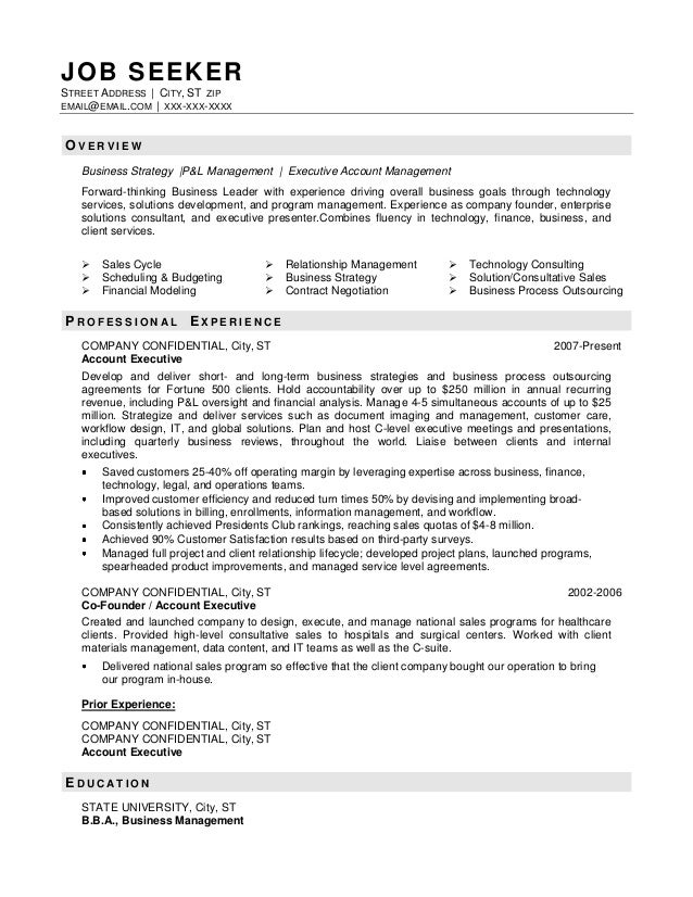 business resume sample job seekerstreet address city st zipemailemailcom xxx xxx - Business Resume Sample