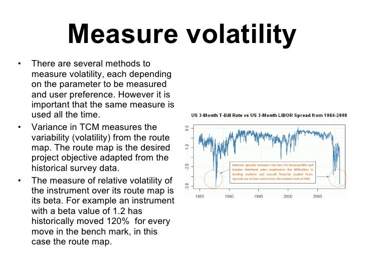 Measure volatility <ul><li>There are several methods to measure volatility, each depending on the parameter to be measured...